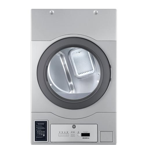 """Crossover True Commercial Laundry - 7.0 CF Heavy Duty Bottom Control Gas Dryer, Coin Option Included/Card Ready, Silver, 27"""" (Stacked application)"""