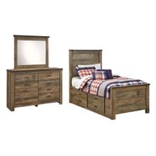 Twin Panel Bed With 2 Storage Drawers With Mirrored Dresser