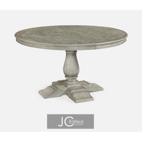Rustic grey round extending dining table