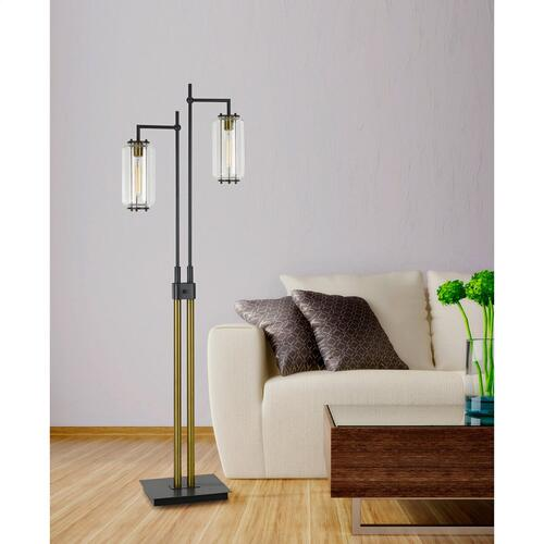 60W X 2 Natchez Metal Two Tone Floor Lamp With Glass Shades. (Edison Bulbs included)