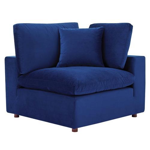Commix Down Filled Overstuffed Performance Velvet Corner Chair in Navy