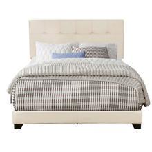 Biscuit Tufted Queen Upholstered Bed in Linen Beige