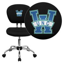 North Carolina - Wilmington Seahawks Embroidered Black Mesh Task Chair with Chrome Base