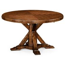 Heavy distressed parquet round-to-oval dining table