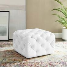 Amour Tufted Button Square Faux Leather Ottoman in White