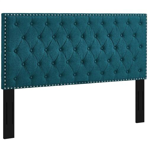 Helena Tufted King and California King Upholstered Linen Fabric Headboard in Teal