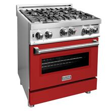 ZLINE 30 in. Professional Gas on Gas Range in Stainless Steel with Red Matte Door (RG-RM-30)