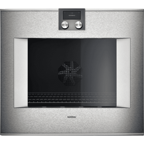 "Gaggenau BO481611     400 series 400 series oven Stainless steel-backed full glass door Width 30"" (76 cm) Left-hinged Controls on top"