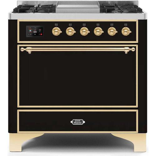 Gallery - Majestic II 36 Inch Dual Fuel Natural Gas Freestanding Range in Glossy Black with Brass Trim