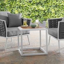 Stance Outdoor Patio Aluminum Side Table in White Natural