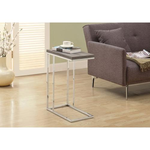 Gallery - ACCENT TABLE - DARK TAUPE WITH CHROME METAL