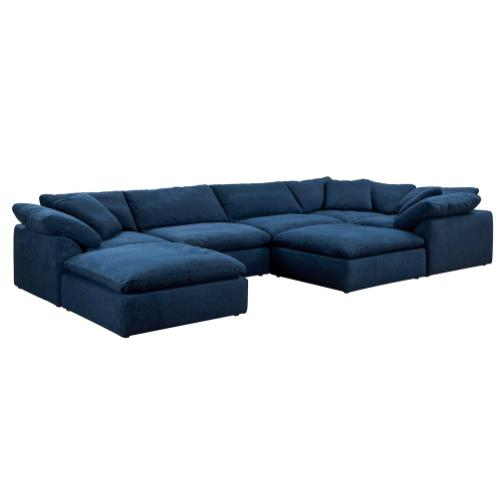 Cloud Puff Slipcovered Modular Sectional Sofa with Ottomans (7 Piece)