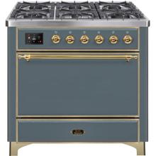 See Details - Majestic II 36 Inch Dual Fuel Natural Gas Freestanding Range in Blue Grey with Brass Trim
