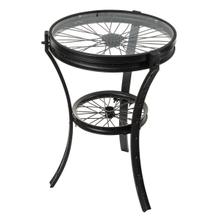 See Details - Black Bike Wheel Side Table