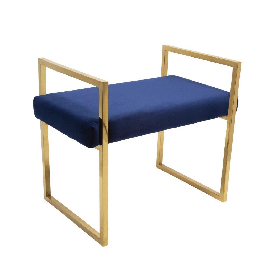 Navy/gold Velveteen Bench W/ Handles