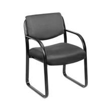 Scratch Resistant with Arms And Sled Base Side Black Guest Chair - Fabric