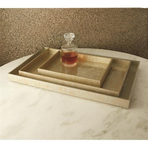 Champagne Silver Leaf Rectangle Tray-Lg