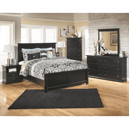 Maribel- Black-8pc.- Dresser, Mirror, Chest, Nightstand & King Panel Bed