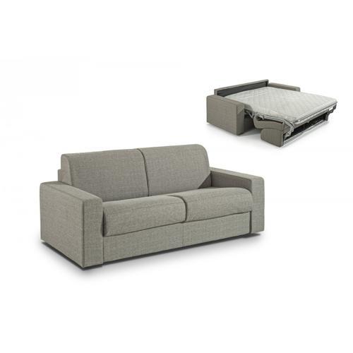 Modrest Made in Italy Urrita - Modern Gray Fabric Sofa Bed w/ Full Size Mattress