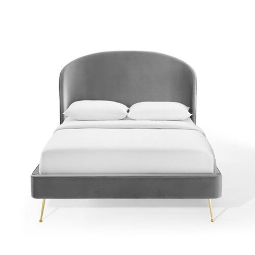 Modway - Mira Upholstered Performance Velvet Queen Platform Bed in Gray