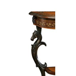 Floral Demilune With Horse Head, Hoofed-foot Cast Legs and Display Shelf Console Table
