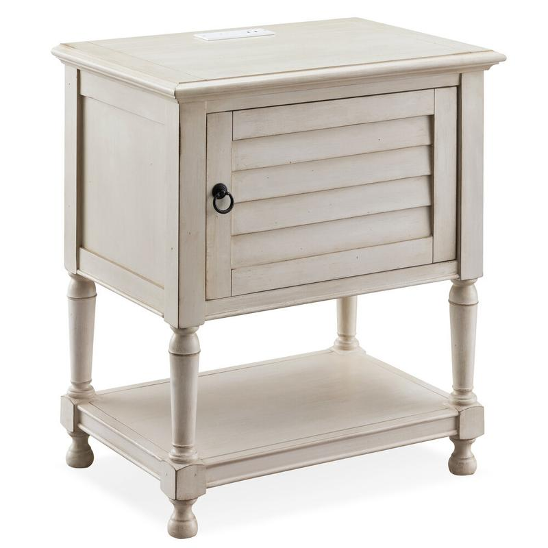 Louvered Door White Night Stand/Side Table Cabinet with Top AC/USB Charging #9071-WT