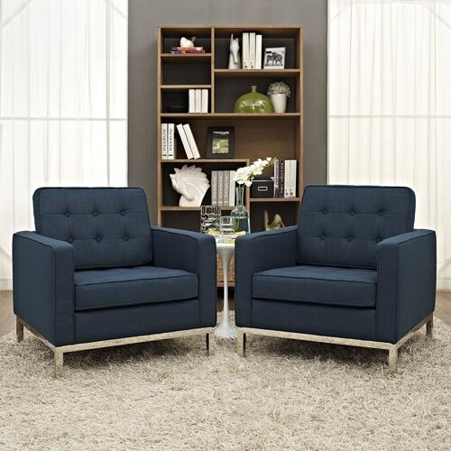 Loft Armchairs Upholstered Fabric Set of 2 in Azure