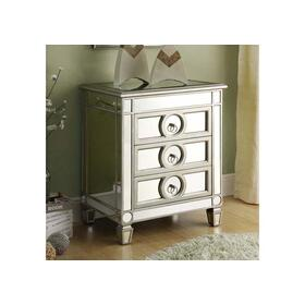 "ACCENT TABLE - 27""H / BRUSHED SILVER / MIRROR / 3 DRAWERS"