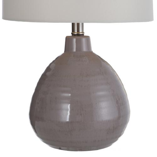 Accent Cool Gray Ceramic Table Lamp with Linen Hardback Shade