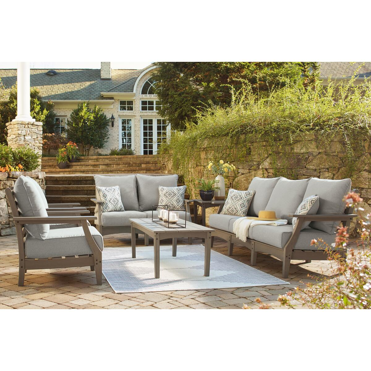 See Details - Outdoor Sofa and Loveseat With 2 Lounge Chairs and End Table