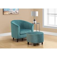 ACCENT CHAIR - 2PCS SET / TURQUOISE QUILTED FABRIC