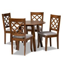 See Details - Baxton Studio Adara Modern and Contemporary Grey Fabric Upholstered and Walnut Brown Finished Wood 5-Piece Dining Set