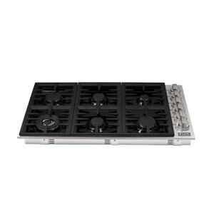 Zline KitchenZLINE 36 in. Dropin Cooktop with 6 Gas Burners and Black Porcelain Top (RC36-PBT)