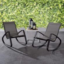 Traveler Rocking Lounge Chair Outdoor Patio Mesh Sling Set of 2 in Black Black