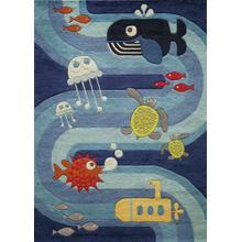 Lil Mo Whimsy Ocean Life Lmj-21 Blue - 2.0 x 3.0