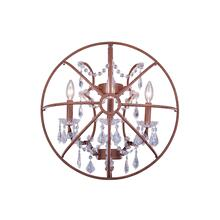 Geneva 3 light Rustic Intent Wall Sconce Clear Royal Cut crystal