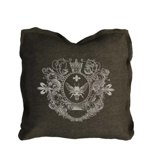 Curations Limited - Logo Pillow Brown Linen