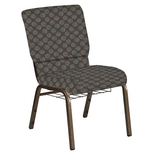 Flash Furniture - 18.5''W Church Chair in Cirque Earth Fabric with Book Rack - Gold Vein Frame