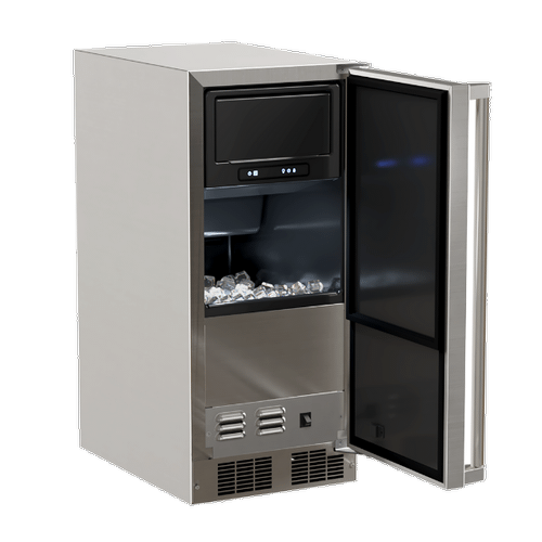 Marvel - 15-In Outdoor Built-In Clear Ice Machine With Factory-Installed Pump with Door Style - Stainless Steel