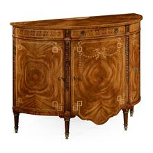 Sheraton style walnut bow fronted commode
