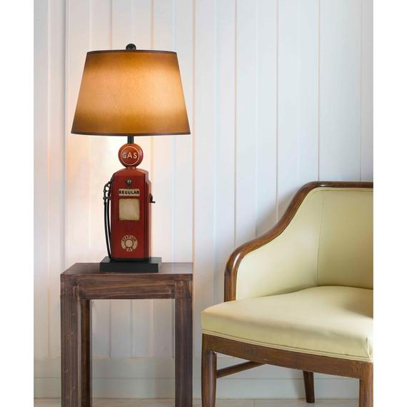 150W 3 Way Nostalgic Gas Pump Resin Table Lamp With Hand Painted Paper Shade