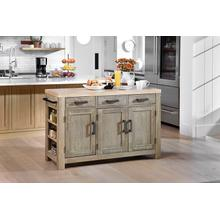 Cocina Kitchen Island With Spice Rack and Wood Top