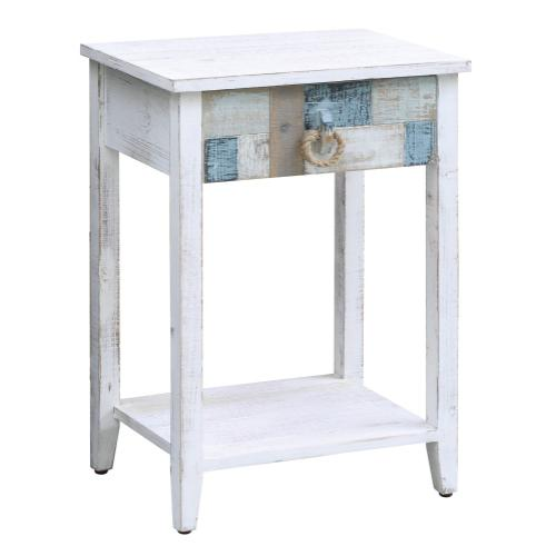 Product Image - South Shore Multi Color Nautical Patchwork 1 Drawer Accent Table