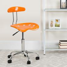 View Product - Vibrant Orange and Chrome Swivel Task Office Chair with Tractor Seat