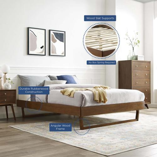 Modway - Billie Full Wood Platform Bed Frame in Walnut