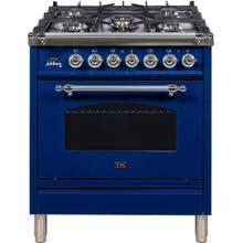 Nostalgie 30 Inch Dual Fuel Liquid Propane Freestanding Range in Blue with Chrome Trim