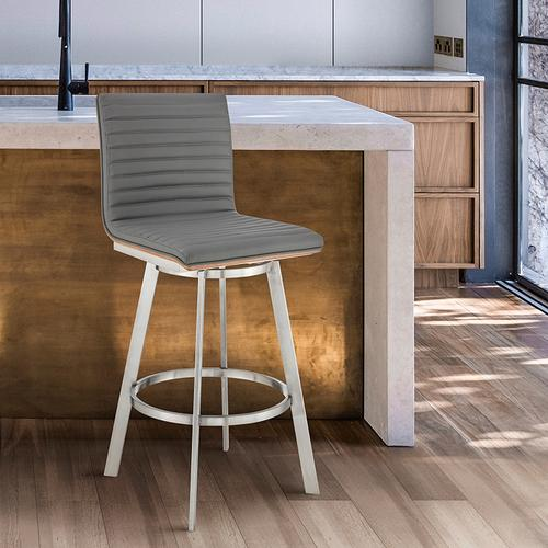 """Nikole 26"""" Gray Faux Leather and Brushed Stainless Steel Finish Swivel Bar Stool with Walnut Veneer Back"""