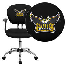 Kennesaw State University Owls Embroidered Black Mesh Task Chair with Arms and Chrome Base