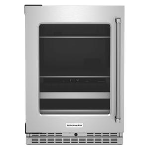 """KitchenAid24"""" Beverage Center with Glass Door and Metal-Front Racks - Stainless Steel"""