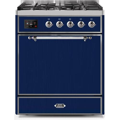 Product Image - Majestic II 30 Inch Dual Fuel Natural Gas Freestanding Range in Blue with Chrome Trim